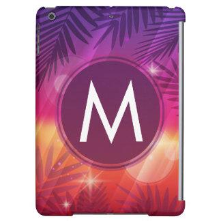 Summer Sunset Palm Trees Monogram Purple Orange iPad Air Cases