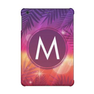 Summer Sunset Palm Trees Monogram Purple Orange iPad Mini Cases