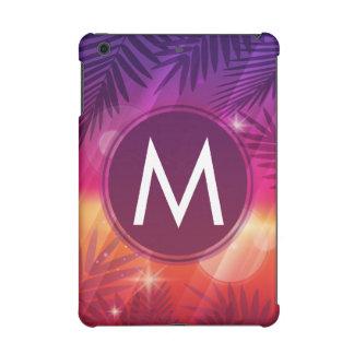 Summer Sunset Palm Trees Monogram Purple Orange iPad Mini Retina Covers