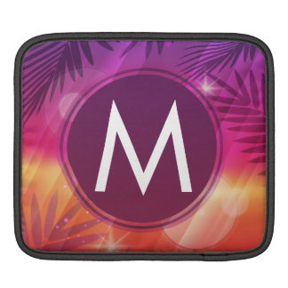 Summer Sunset Palm Trees Monogram Purple Orange iPad Sleeve