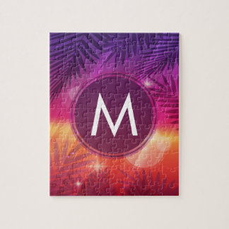 Summer Sunset Palm Trees Monogram Purple Orange Jigsaw Puzzle