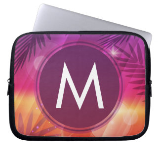 Summer Sunset Palm Trees Monogram Purple Orange Laptop Computer Sleeves