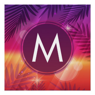 Summer Sunset Palm Trees Monogram Purple Orange Perfect Poster