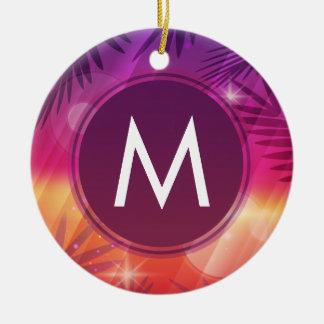 Summer Sunset Palm Trees Monogram Purple Orange Round Ceramic Ornament