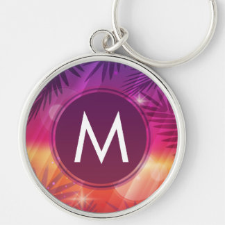 Summer Sunset Palm Trees Monogram Purple Orange Silver-Colored Round Keychain