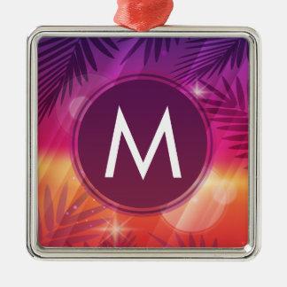 Summer Sunset Palm Trees Monogram Purple Orange Silver-Colored Square Ornament