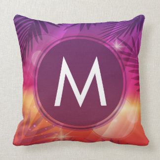 Summer Sunset Palm Trees Monogram Purple Orange Throw Pillow