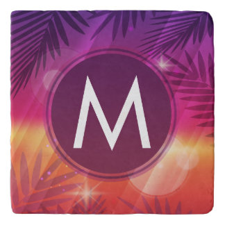 Summer Sunset Palm Trees Monogram Purple Orange Trivet