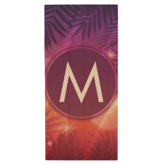 Summer Sunset Palm Trees Monogram Purple Orange Wood USB 3.0 Flash Drive