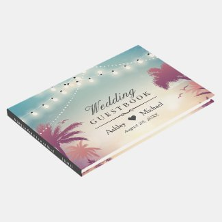 Summer Sunset Palm Tress String Lights Wedding Guest Book
