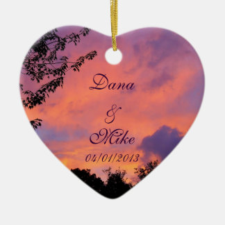 Summer Sunset Romantic Heart Ornaments