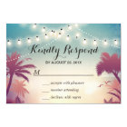 Summer Sunset String Lights Palm Tree RSVP Card