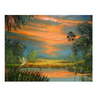 Summer Sunset with Blue Heron Postcard