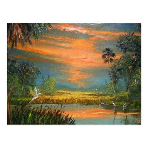Summer Sunset with Blue Heron Postcards