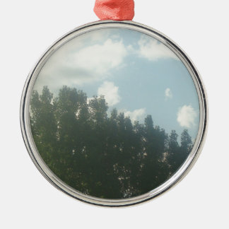 summer sunshine Silver-Colored round ornament