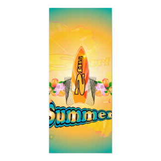 """Summer, surfboard with flowers 4"""" x 9.25"""" invitation card"""