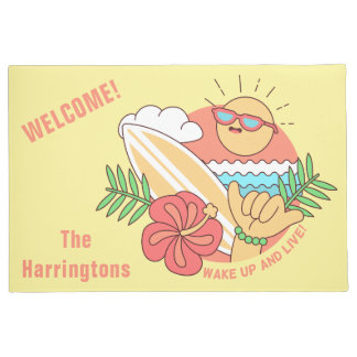 Summer Surfer custom name door mat