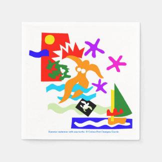Summer swimmer - Napkin Disposable Napkins
