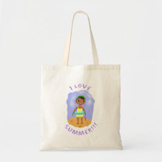Summer Swimmer w/ Text Tote Bag