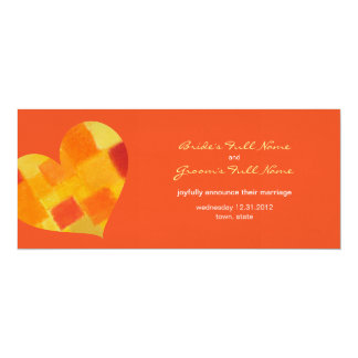 "Summer tango Wedding Announcement 4"" X 9.25"" Invitation Card"