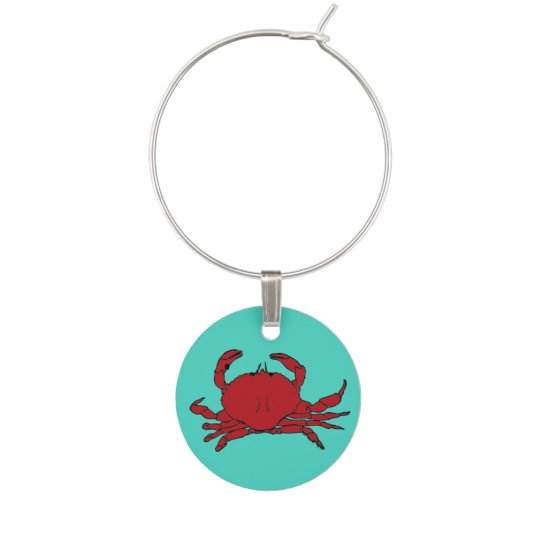 Summer Theme Red Crab Wine Charm