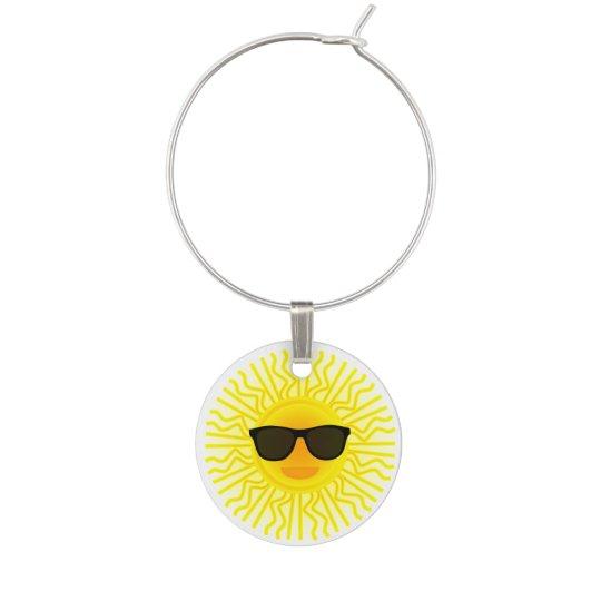 Summer Theme Sunny Beach Sun Face with Sunglasses Wine Charms