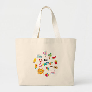 Summer theme with food and objects large tote bag