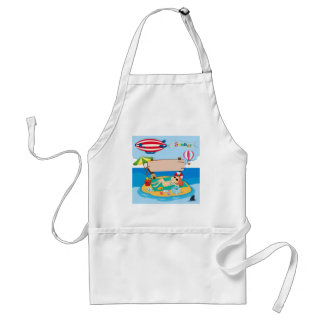 Summer theme with girl on island standard apron