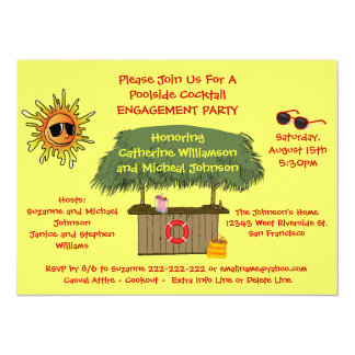 Summer Tiki Hut Beach Cocktail Engagement Party Card