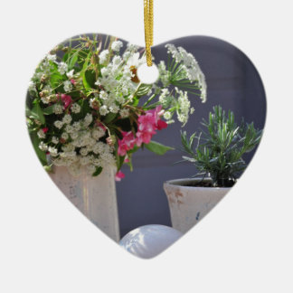 Summer Time Ceramic Heart Ornament