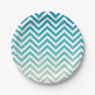 Summer Time Elegant Watercolor Chevron Stripes 7 Inch Paper Plate