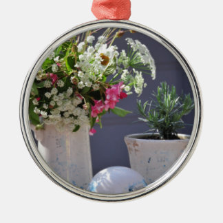 Summer Time Silver-Colored Round Ornament