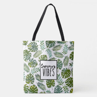 Summer trend botanical leaf seamless pattern tote bag