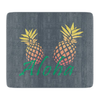 """summer tropical """"aloha"""" text, colorful pineapple cutting board"""