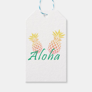 "summer tropical ""aloha"" text, colorful pineapple gift tags"