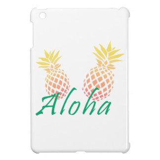 "summer tropical ""aloha"" text, colorful pineapple iPad mini cover"