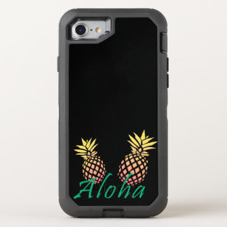 "summer tropical ""aloha"" text, colorful pineapple OtterBox defender iPhone 8/7 case"