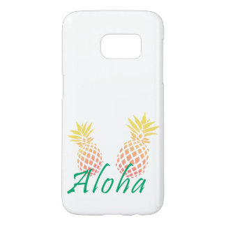"summer tropical ""aloha"" text, colorful pineapple samsung galaxy s7 case"