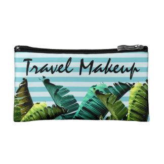 Summer Tropical Banana Leaves & Stripes Makeup Bag