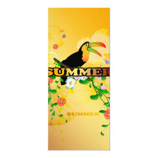 Summer, tropical design 4x9.25 paper invitation card