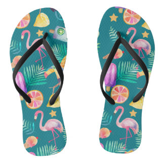 Summer Tropical Fun Teal Pattern Flip Flops