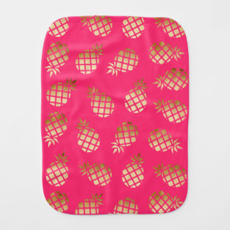Summer tropical gold and pink pineapple pattern burp cloth