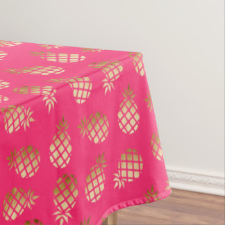 Summer tropical gold and pink pineapple pattern tablecloth