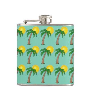 Summer Tropical Island Palm Tree and Beach Sunset Hip Flask