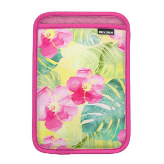 Summer Tropical Leaves Hibiscus Flowers iPad Mini Sleeve