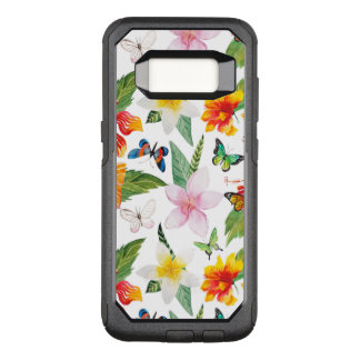 Summer tropical orange floral watercolor butterfly OtterBox commuter samsung galaxy s8 case