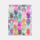 Summer tropical pineapples pastel watercolor fleece blanket