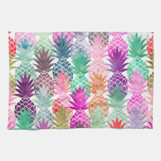 Summer tropical pineapples pastel watercolor kitchen towel