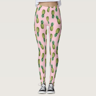 Summer Tropical Pineapples Pink Leggins Leggings