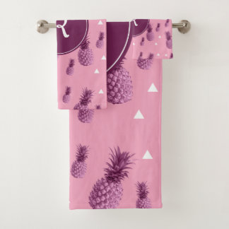 Summer tropical pink pineapple triangles pattern bath towel set